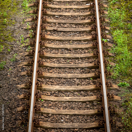 Close up view of railway track