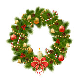 Christmas wreath on white background. Xmas decorations