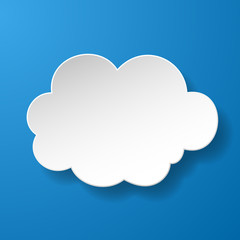 Abstract paper speech bubble in a shape of a cloud on blue backg