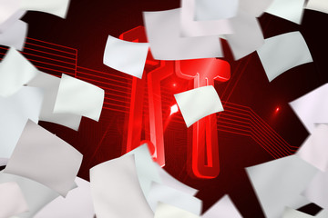 White paper in front of background with red tools