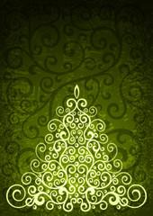 Green christmas vector floral illustration.