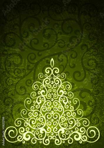 Green christmas vector floral illustration.