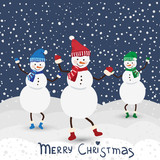 Christmas music card with dance snowman