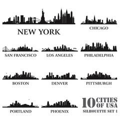 Silhouette city set of USA #1