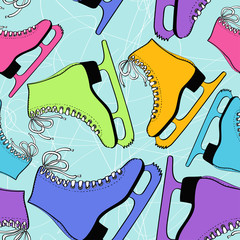 Seamless pattern of colorful skates