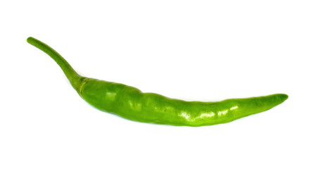 Green hot chili peppers .