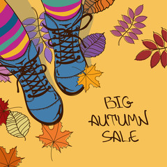 Autumn sale illustration with girls feet in boots