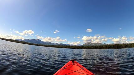 POV kayaking wilderness lake area, USA