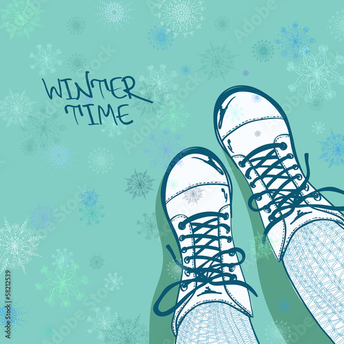 Winter illustration with girls feet in boots