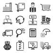 shipping management icons set
