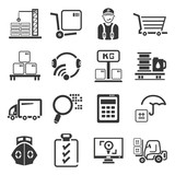 shipping management icons set