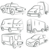 sketched car, truck set
