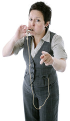 whistleblower, smartly dressed woman blowing a whistle