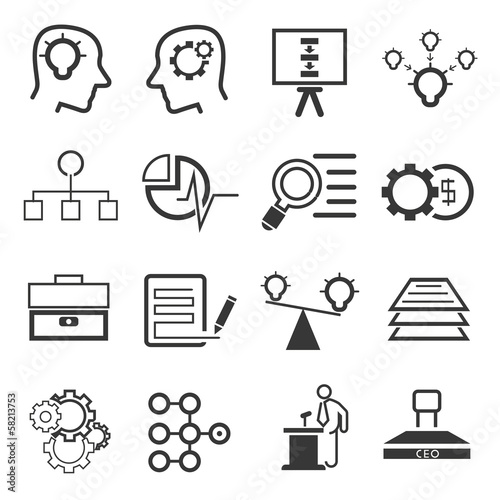 business management and business solution icons