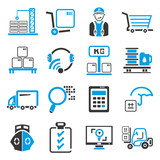 shipping management icons, blue theme