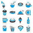 food and restaurant icons, blue theme