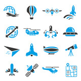 airplane icons, bluetheme
