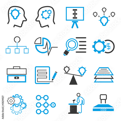 business solution icons, blue theme