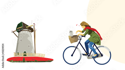 Cycling Dutch Girl Illustration