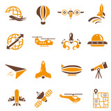 airplane icons, orange theme