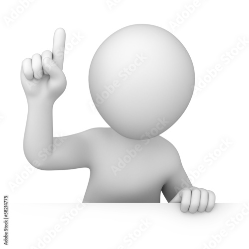 attention! 3d human points finger up
