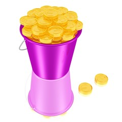 Ein Eimer voller Goldmünzen