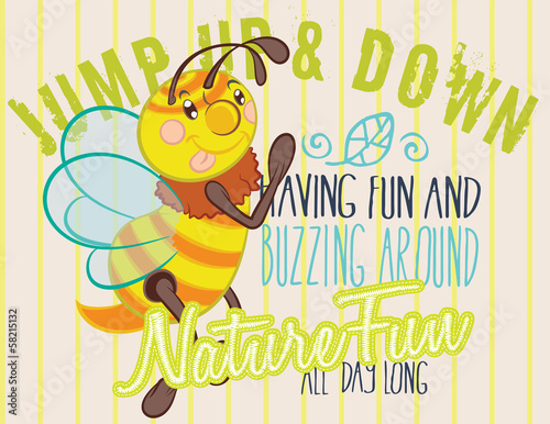 Athletic department with cute bee illustration vector