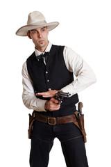 Cowboy schießt mit einem Rovolver