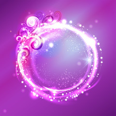 Festive glittering round frame. Vector Background