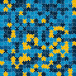 The blue and yellow puzzle background