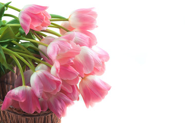 Bright flowers in basket