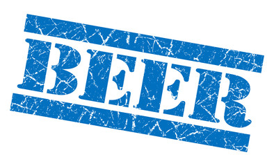 Beer grunge blue stamp