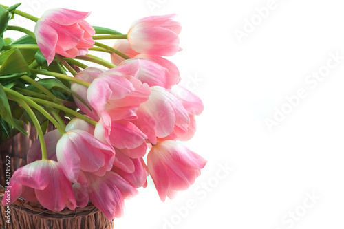 Bright flowers in basket