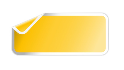 The yellow label with folded corner