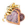 gift with heart shape biscuit