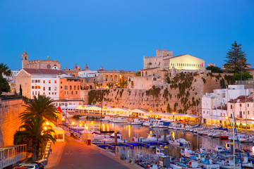 Ciutadella Menorca marina Port sunset town hall and cathedral