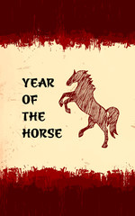 Year of the horse oriental grunge background