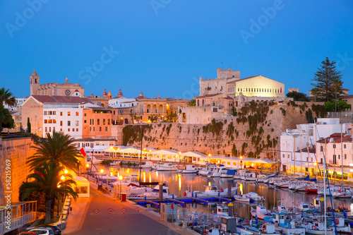 Foto op Aluminium Stad aan het water Ciutadella Menorca marina Port sunset town hall and cathedral