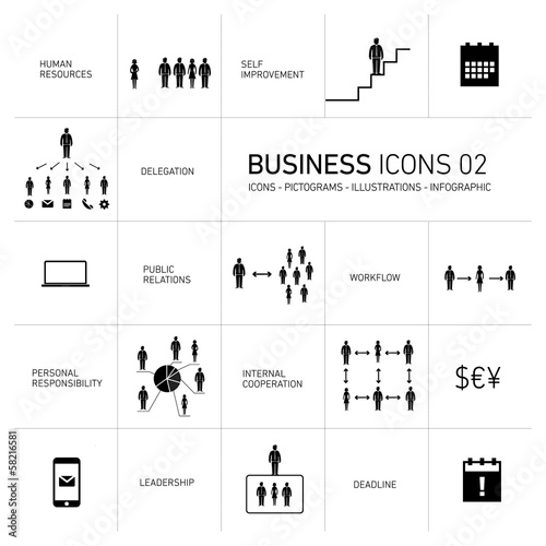 vector business icons set black on white background