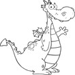 Black and White Dragon Cartoon Character Waving For Greeting