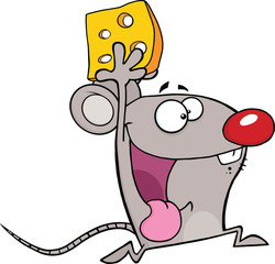 Happy Mouse Cartoon Mascot Character Running With Cheese
