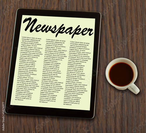 Newspaper on tablet