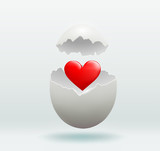 red heart in the broken egg