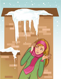 Young woman shows fear for icicles on the roof