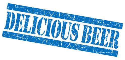 Delicious beer grunge blue stamp