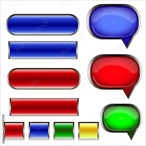 Set of speech bubbles and buttons