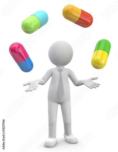 Männchen jongliert mit Pillen