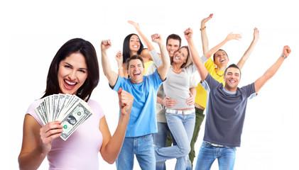 Happy woman with money.