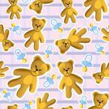 Seamless baby pattern with pacifier and teddy bear
