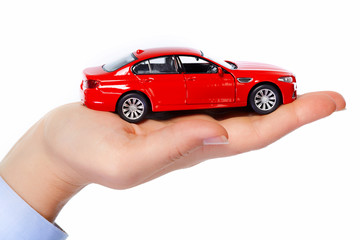 Hand with car.